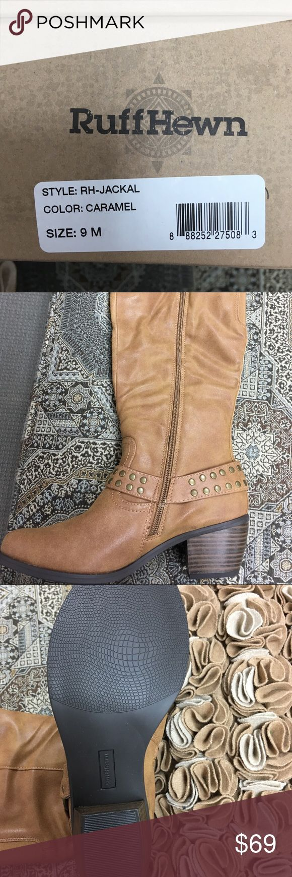 Ruff Hewn Jackal knee high Carmel boot size 9 Ruff Hewn Jackal knee high harness Carmel boot size 9. Faux leather upper. Side zip Ruff Hewn Shoes Heeled Boots