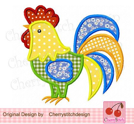 Rooster 02 Digital Applique 4x4 5x7 by CherryStitchDesign on Etsy, $2.99