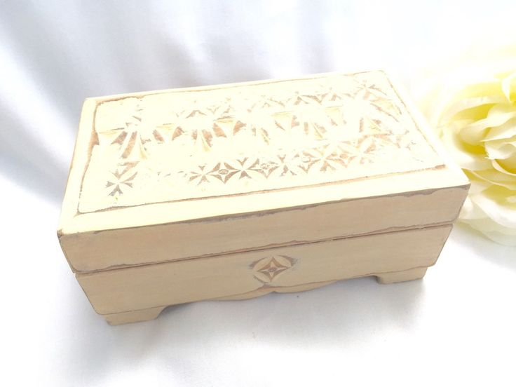 SHABBY Chic Jewelry Box Antique White Distressed Vintage Wooden Jewelry Box With Red Velvet Lining by StudioVintage on Etsy