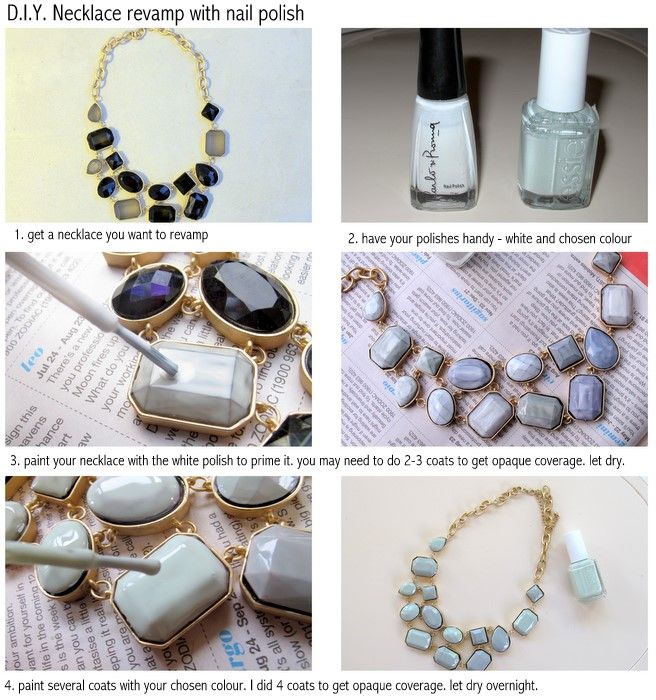 Revamp an old necklace with nail polish!Ideas, Nail Polish, Diy Necklaces, Diy Fashion, Nailpolish, Nails Polish, Necklaces Makeovers, Diy Jewlery, Crafts