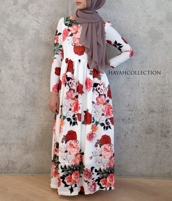 Floral Maxi Gown by HAYAHcollection on Etsy