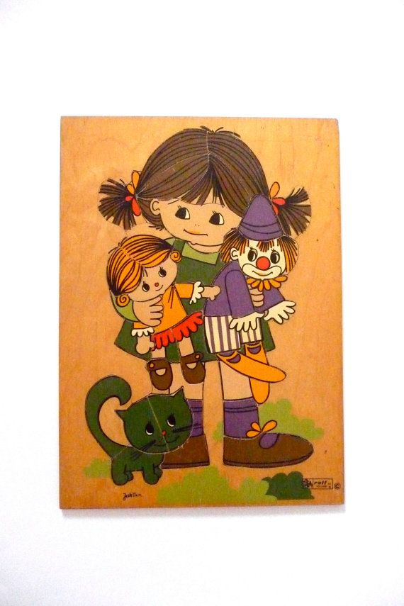 Childrens Large Wooden Puzzle by Rolf of Holland with Art by
