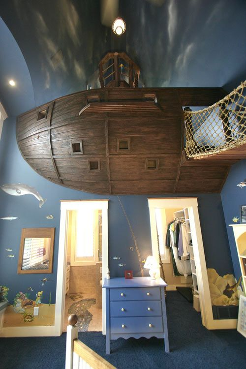 Ok, I don't necessarily want this in my house, but this kid has the coolest parents ever. That's his bedroom with a pirate ship clubhouse built in.