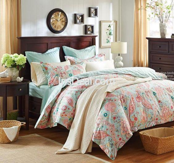 Romantic Teal Turquoise Bedding Set Girls Vintage Floral
