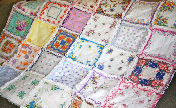 Vintage Hanky Handkerchief Rag Quilt....This quilt is a mix of vintage ladies handkerchiefs and brand new vintage-style handkerchiefs. It's