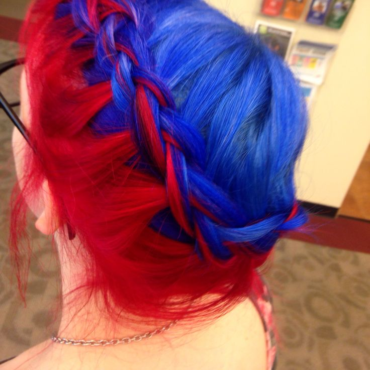 Blue and red hair braided. Colors are both from Arctic Fox Hair Dye <3 Color done by me, braid done by my lovely cousin Abby!
