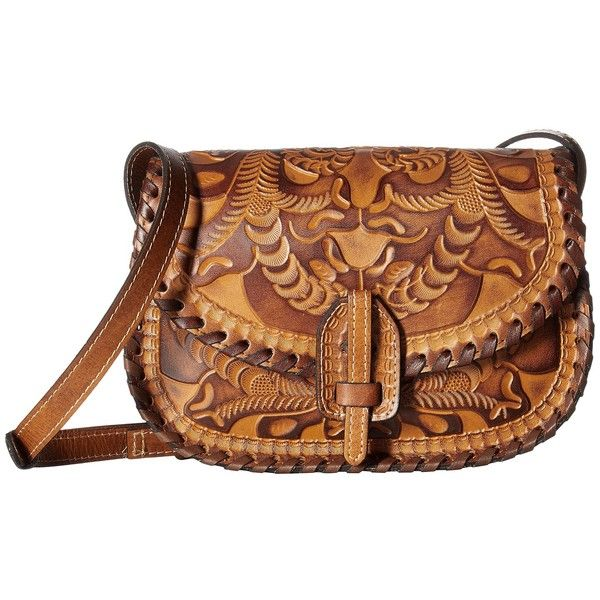 Patricia Nash Nardini Saddle Bag (Gold) Handbags (€185) found on Polyvore featuring women's fashion, bags, handbags, shoulder bags, brown purse, hand bags, patricia nash purses, brown saddle bags and woven leather handbags