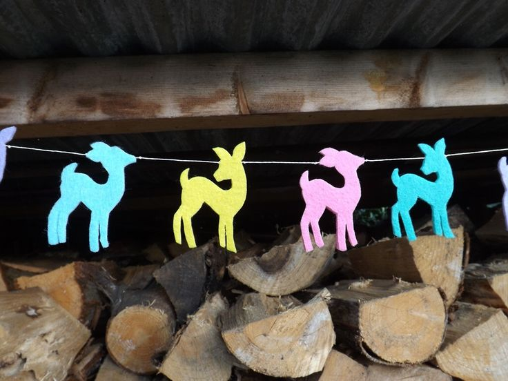 Baby Deer Garland, Felt Garland, Baby Deer Nursery, Woodland Baby shower Woodland Baby, Woodland Nursery,Pastel Nursery, Fawn, New Baby Gift by FeltWitch on Etsy https://www.etsy.com/listing/198159493/baby-deer-garland-felt-garland-baby-deer