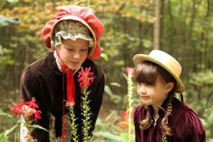 Costumed interpreters exploring nature as they step back in time at Westfield Heritage Village.