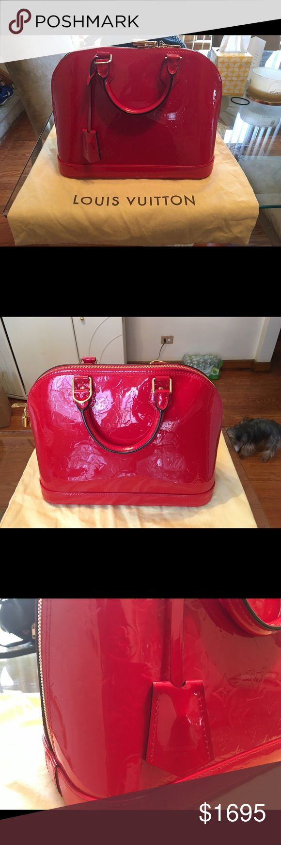 Louis Vuitton Alma PM Handbag Effortlessly stylish and elegant, you will turn heads with this shiny, bright red Monogram Vernis Leather handbag. Beautiful Gold hardware! Keys included (see pics). Worn 2-3 times, comes with dust bag and purse stuffer to hold the shape of the purse. Price is not negotiable on this item! Louis Vuitton Bags Shoulder Bags