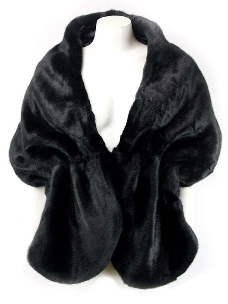 Xiamo Black Faux Fur Shawl
