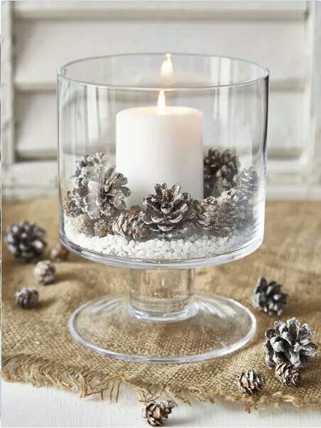 I would make this but use a red, green or even gold candle instead of white.