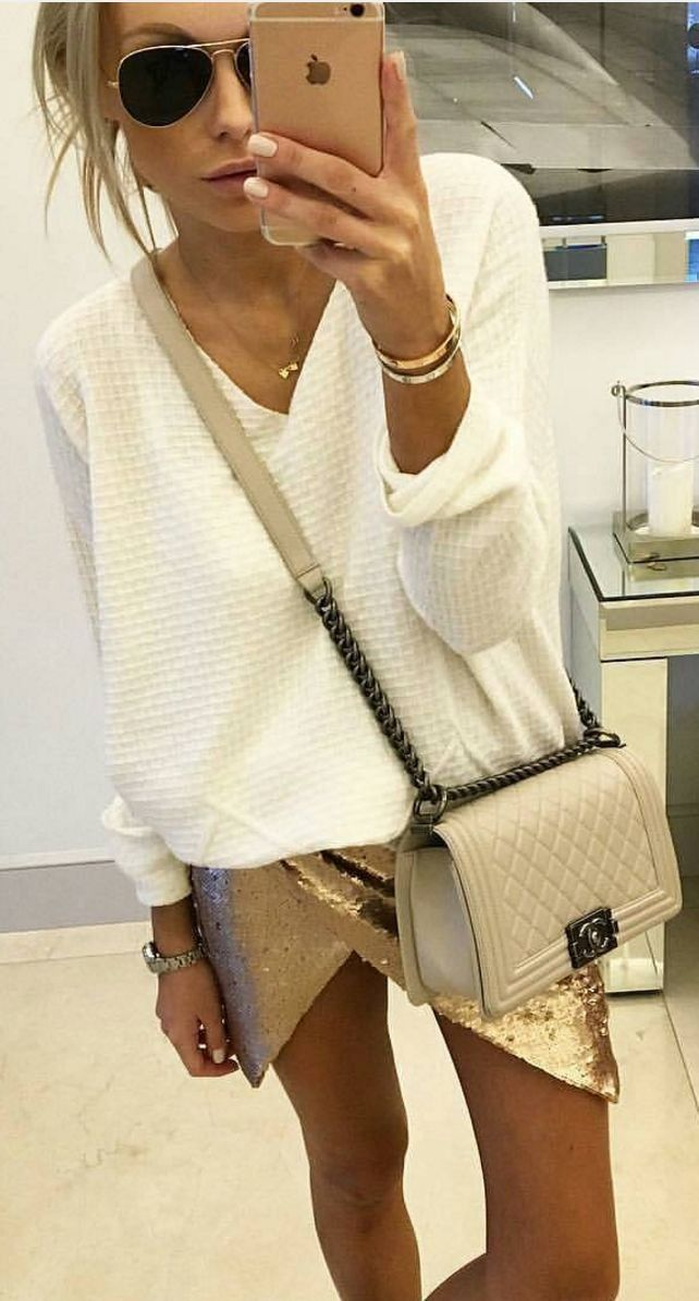 #spring #summer #street #style #outfitideas | White Knit + Gold Sequins