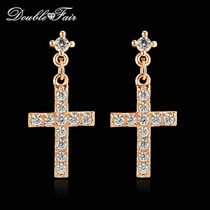 Cross Cubic Zirconia Drop/Dangle Earrings Wholesale Rose Gold Plated/Silver Tone Fashion Wedding Jewelry For Women DFE328