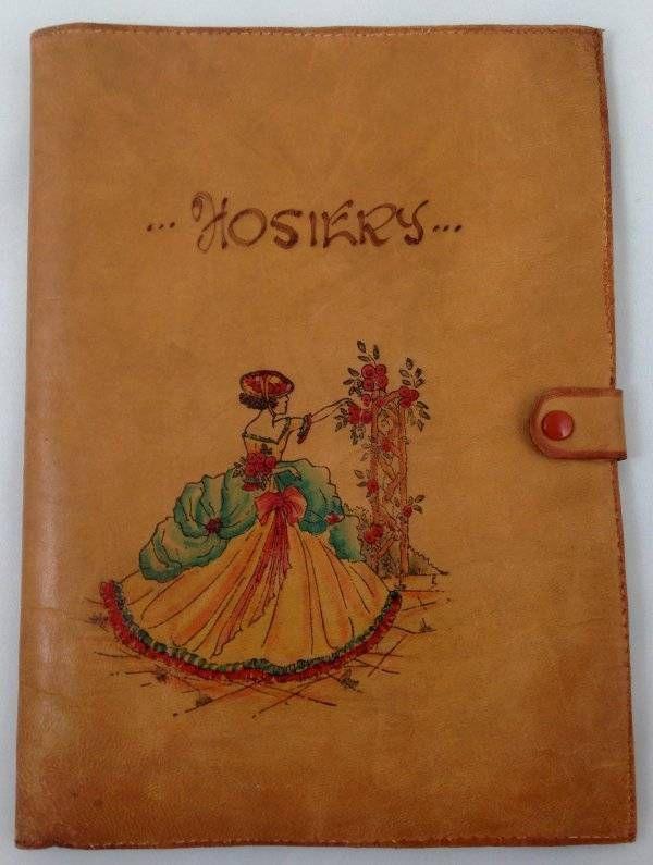 Vtg Leather Crinoline Lady Hosiery Bag Vanity Ladies Stockings Garden Roses