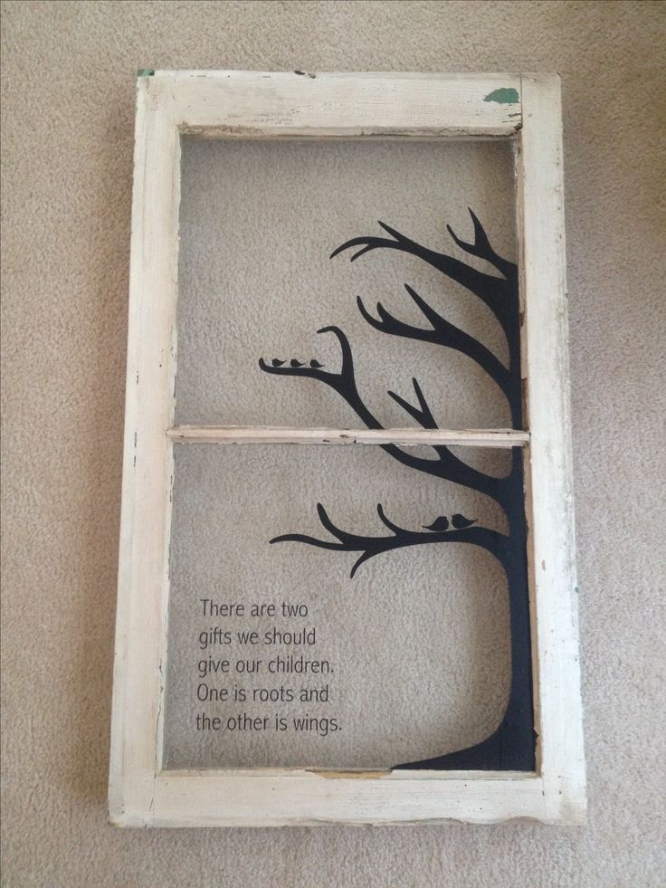 Old window/repurposed window with family quote