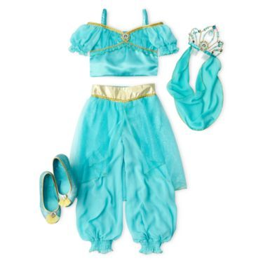 Open up a whole new world of fun for your little princess with this beautiful Jasmine costume and all of its accessories.