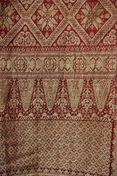 19c sulawesi songket gold thread silk textile, Indonesia
