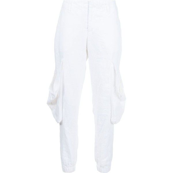 Greg Lauren 'Fishermen' lounge trousers ($608) ❤ liked on Polyvore featuring pants, white, white linen trousers, linen pants, white linen pants, white trousers and linen trousers