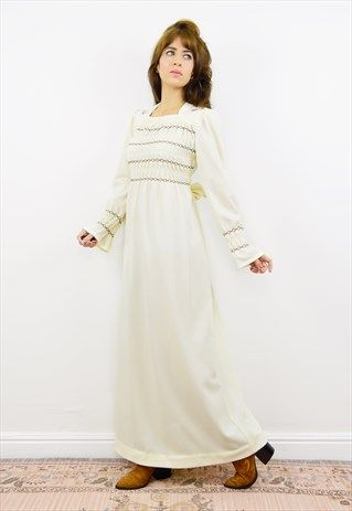 Vintage+70s+cream+boho+midi/maxi+dress