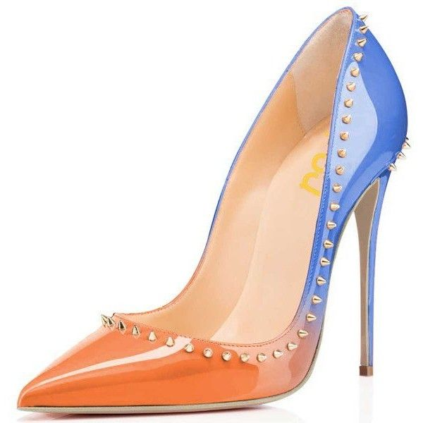 Women's Orange and Light Blue Pointed Toe Pencil Heel 4 Inch Heels... ($65) ❤ liked on Polyvore featuring shoes, pumps, high heel shoes, pencil heel shoes, pointed toe shoes, light blue shoes and orange high heel pumps