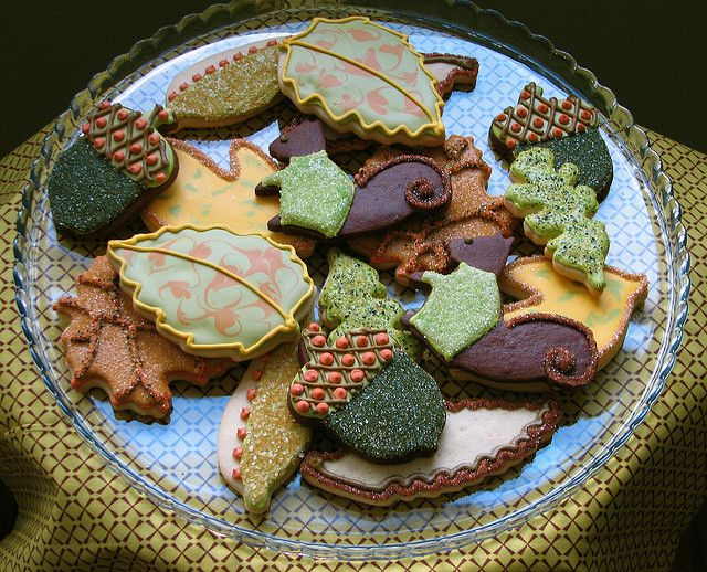 Thanksgiving Cookies -     Acorn, leaf and squirrel cookies, all iced in a palette of warm autumn hues and sparkling sugar.