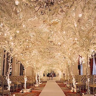 """Wow!! I think this is one of my favorite ceremony designs. An immediate feeling of """"cool"""" when you walk in. Spectacular! I love planning this type of wedding."""