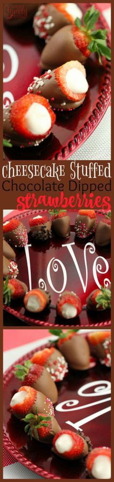 Cheesecake Stuffed Chocolate Dipped Strawberries are the perfect treat to give to someone you love.