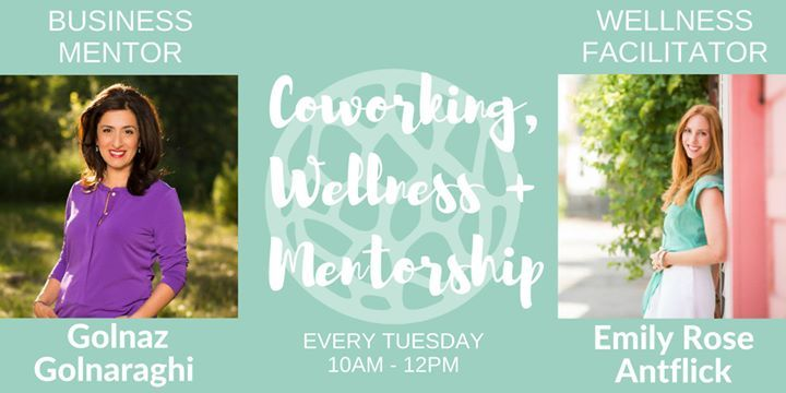 JOIN A GROUP OF HEART-CENTRED WORKING WOMEN WHO ARE COMMITTED TO MAKING SELF-CARE PART OF OUR WORKING LIVES.  We meet every Tuesday morning to cowork, support each other through mentorship, and take time to promote our holistic health & wellbeing. Stick around after for our weekly pot-luck lunch! Bring something yummy to share or a salad item to throw in the mix.  COWORKING After a quick check-in to set our intentions for the day, we get down to business for around 90 minutes. Each of us ...