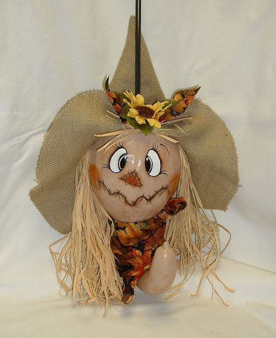 Scarecrow Gourd for Fall  Hand Painted Gourd