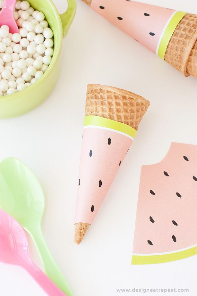 Free watermelon printable ice cream cone wrappers