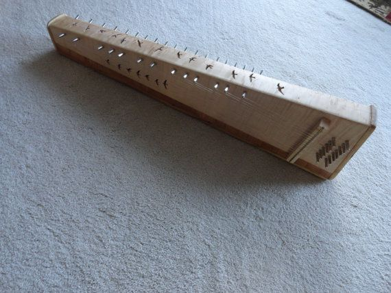 Hand made 32 string bowed psaltery with swallows by NaturePauses