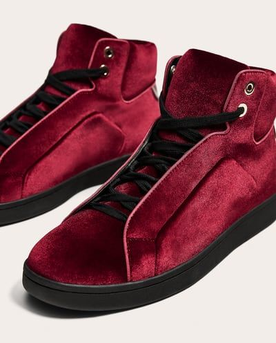 dfcb4b5650d3 MAROON VELVET HIGH TOP SNEAKERS-View all-SHOES-MAN-SALE