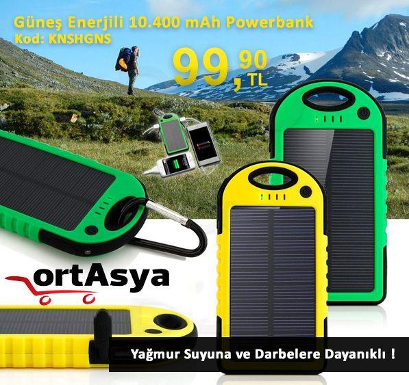 Güneş Enerjili 10.400 mAh Powerbank (Darbe ve Suya Dayanıklı) 169.90 TL yerine sadece 99.90 TL