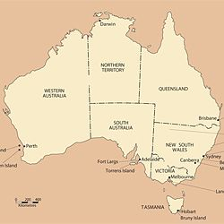 Map of World War One internment camps in Australia