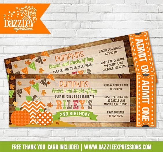 Printable Pumpkin Patch Ticket Birthday Invitation | Kids October and Fall Birthday Party Ideas | Pumpkin | Rustic Barn Wood | FREE thank you card included | Leaves | Hay Ride | Rustic | Girl or Boy | DIY | Digital File | Matching Party Package Available! Banner | Cupcake Toppers | Favor Tag | Food and Drink Labels | Signs |  Candy Bar Wrapper | www.dazzleexpressions.com
