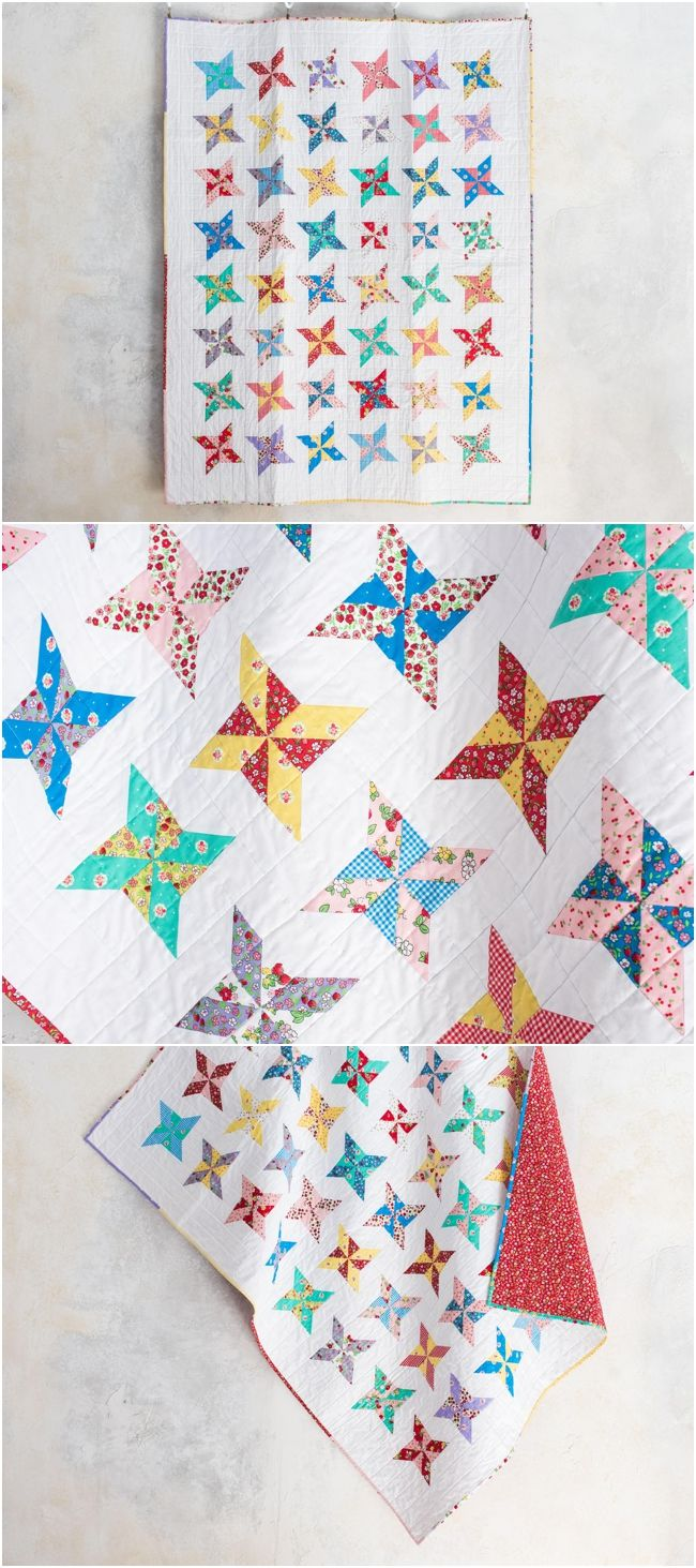 Flight Strawberry Fizz Quilt by Craftsy.  Lily and Loom fabrics make up this pre-cut friendly quilt.  Pinwheel quilt blocks. #quilting affiliate link.