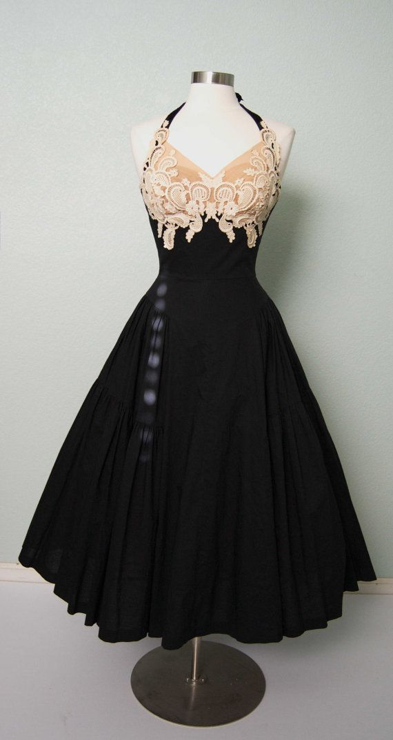 1950s Peggy Hunt Cotton Halter Dress with Lace by KittyGirlVintage, $355.00. Another one that is unbelieveable.