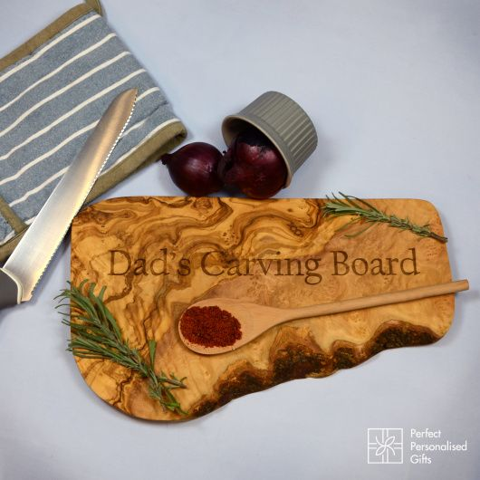 Olive Carving Board. This stunning rustic olive chopping board is handmade in Tunisia, it has a beautiful aroma as if you are in the olive grove yourself.  Personalise this beautiful olive wood carving board with a message of your choice. A perfect gift for a special friend, a big birthday or just because!
