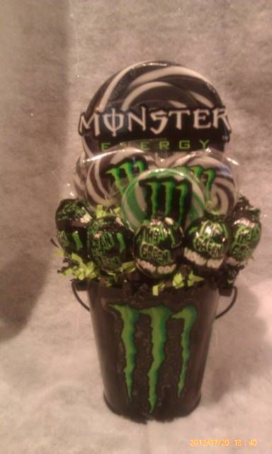 One made to order Monster Energy Lollipop Bouquet. A fun unique gift idea for that monster Energy fan or great table centerpieces at your next party.  **Bucket is reusable** **Lollipops are all edible**