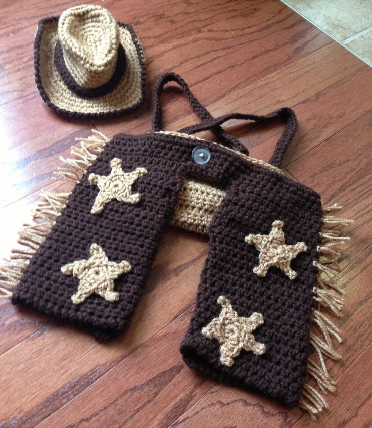 Crochet cowboy outfit baby newborn boy hat by ...