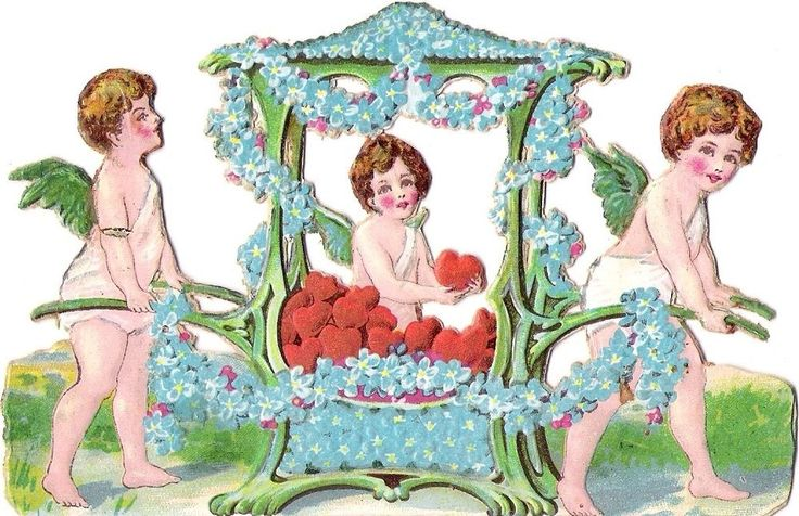 Oblaten Glanzbild scrap die cut chromo Engel 13cm angel ange Amor cupid Herz