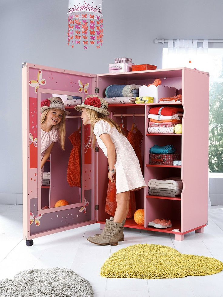 Armoire dressing miss butterfly blanc imprim for Catalogue vertbaudet meuble