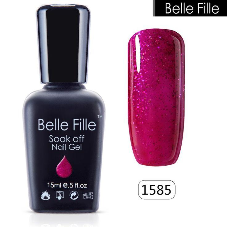 BELLE FILLE 15ml Clear Color UV Gel Polish Bling Glitter esmaltes permanentes de uv Manicure Nail art varnish cosmetics Makeup #Affiliate