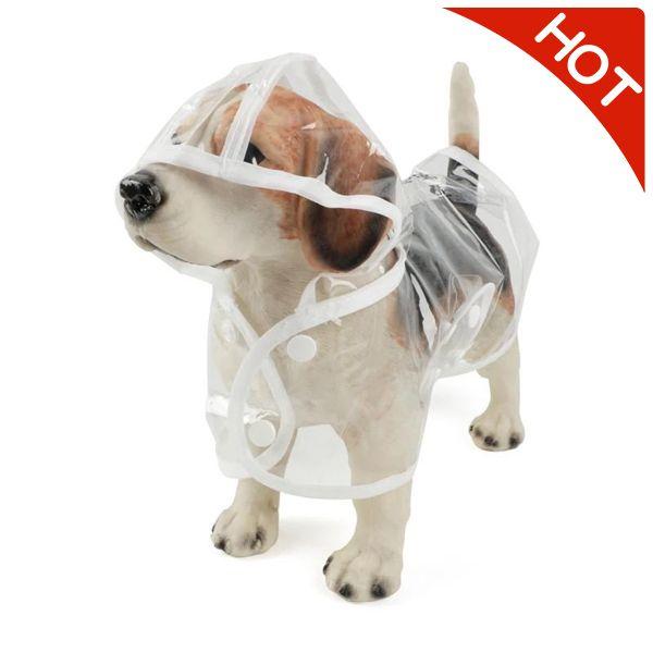 1pc Waterproof Dog Raincoat with Hood Transparent