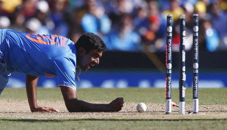 2015 Cricket World Cup: Australia v India.India's bowler, Ravichandran Ashwin, reacts after a failed attempt at a run out of Finch.