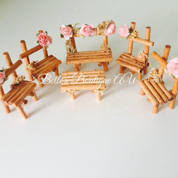 Fairy garden furniture set, woodland fairy bench, miniature dollhouse tables - fairy furniture & other items