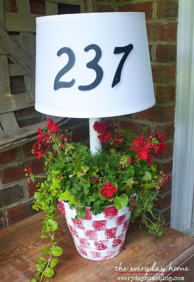 DIY solar powered front porch lamp and planter.