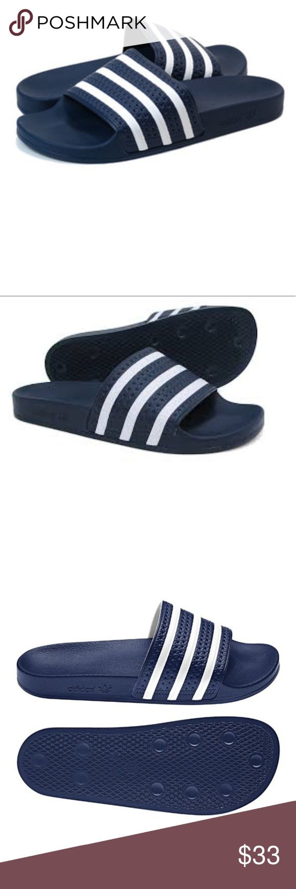 BNIB ADIDAS ADILETTE SLIDES NAVY WHITE Brand new, in box. Adidas Adilette Pool Slides. Navy/White Still available online for $45. Men's size 8 = Women's size 10. Think Spring!  Comes from a smoke free home. Bundle & save! adidas Shoes Sandals & Flip-Flops