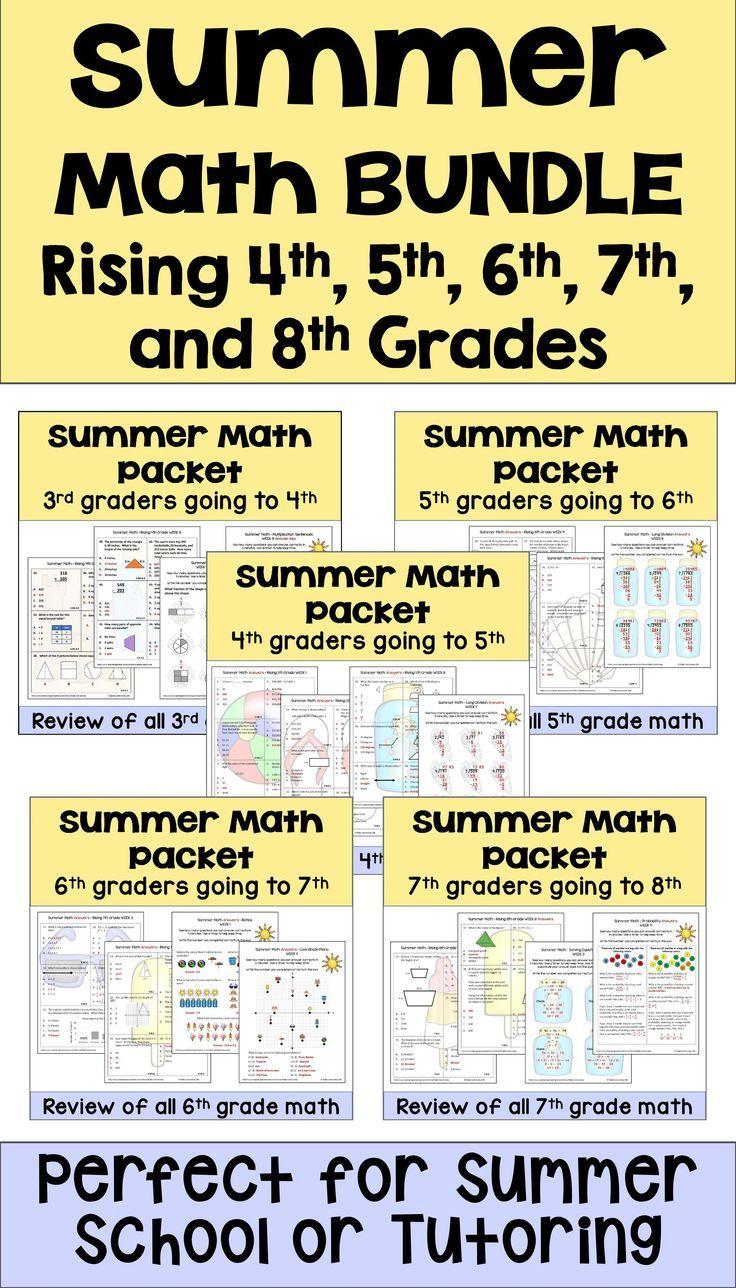 Summer Math Packet Bundle For Rising 4th 5th 6th 7th And 8th Grade Students Summer Math Packet Math Packets Summer Math [ 1288 x 736 Pixel ]